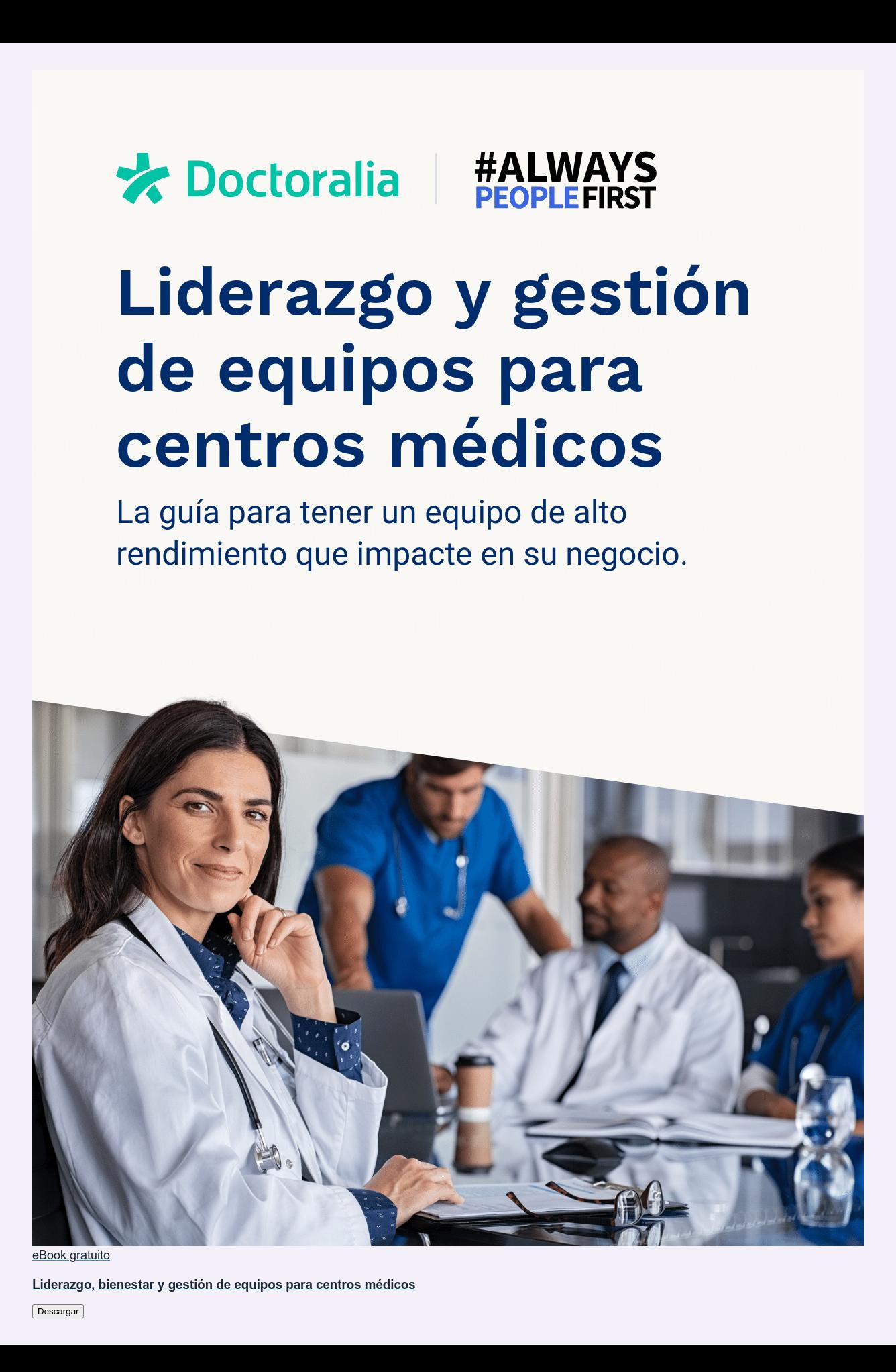 eBook gratuito  Liderazgo, bienestar y gestión de equipos para centros médicos Descargar