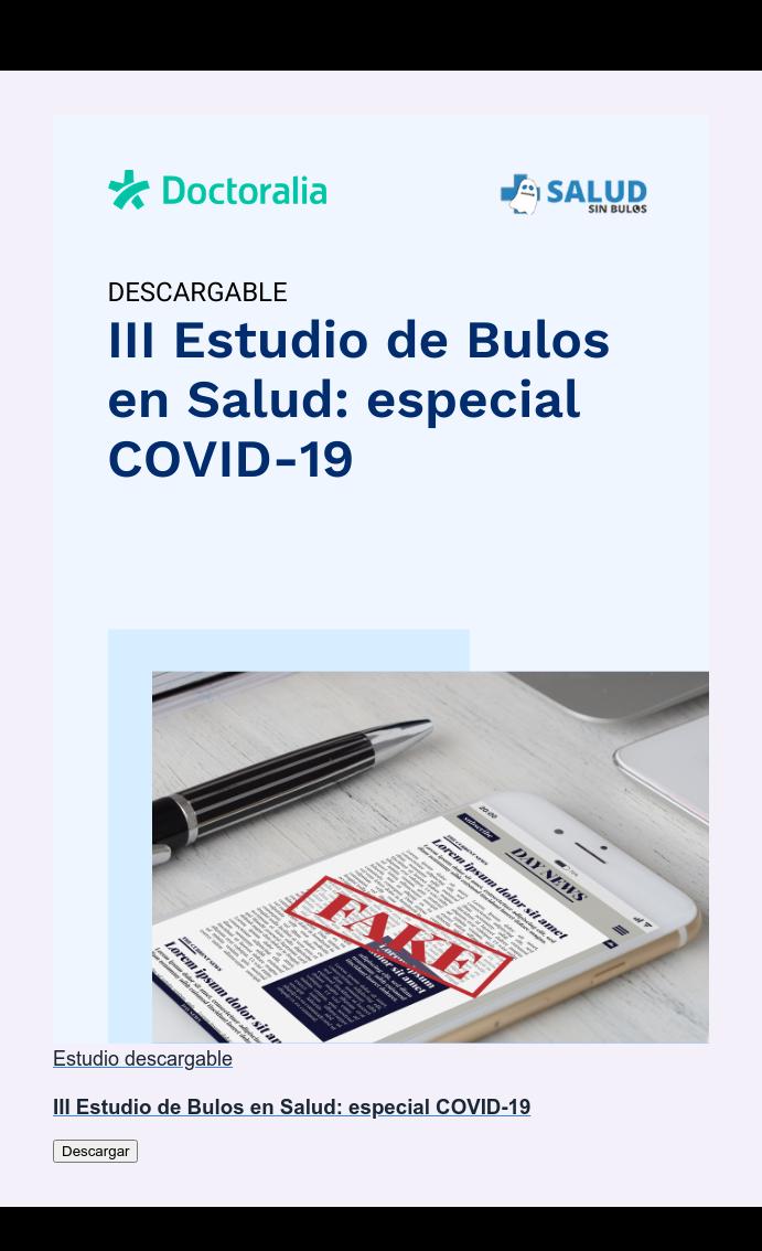 Estudio descargable  III Estudio de Bulos en Salud: especial COVID-19 Descargar