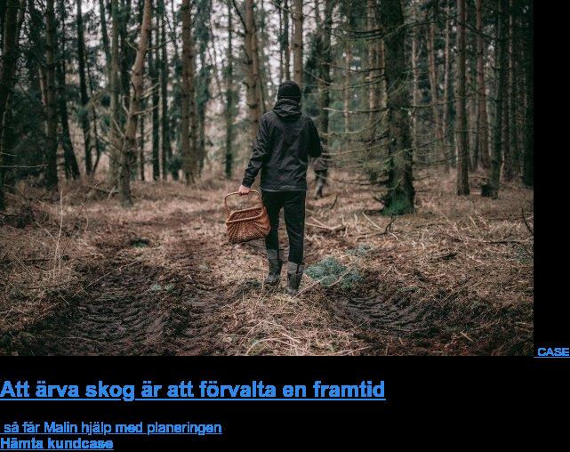 CASE  Att ärva skog är att förvalta en framtid  så får Malin hjälp med planeringen Hämta kundcase