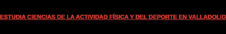 ESTUDIA CIENCIAS DE LA ACTIVIDAD FÍSICA Y DEL DEPORTE EN VALLADOLID