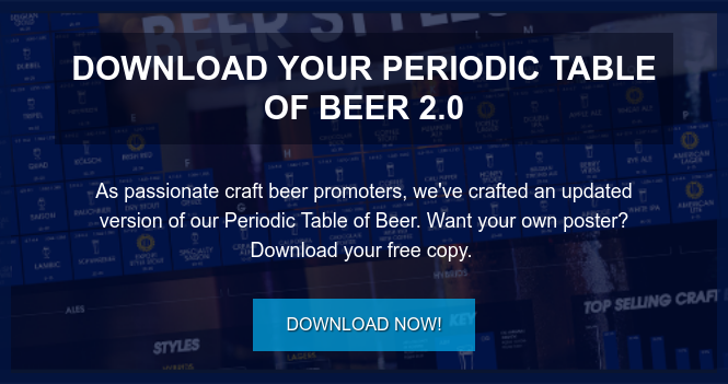 Download Your Periodic Table of Beer 2.0  As passionate craft beer promoters, we've crafted an updated version of our  Periodic Table of Beer. Want your own poster? Download your free copy.  Download Now!