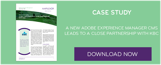Download the case study: A new Adobe Experience Manager CMS leads to a close partnership with KBC