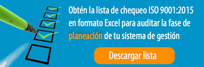 Lista de chequeo ISO 9001 Planeación