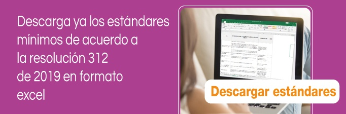 Descarga estandares minimos resolucion 312 2019 excel xls