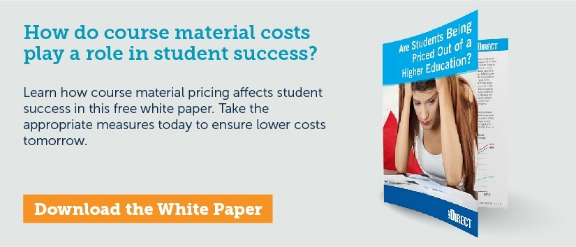 How do course material costs play a role in student success?