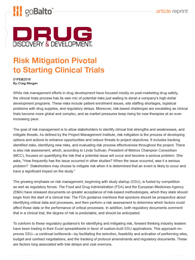 Risk Mitigation Pivotal to Starting Clinical Trials