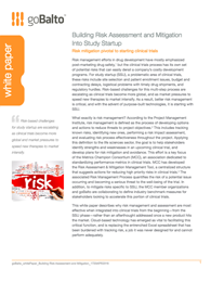 Building Risk Assessment and Mitigation Into Study Startup