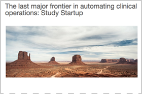 The last Major Frontier in Automating Clinical Operations - Study Startup