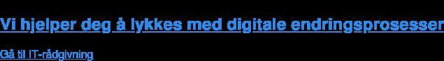 Vi hjelper deg å lykkes med digitale endringsprosesser  Gå til IT-rådgivning