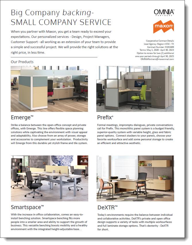 Maxon & OMNIA Partners Co-Branded Flyer