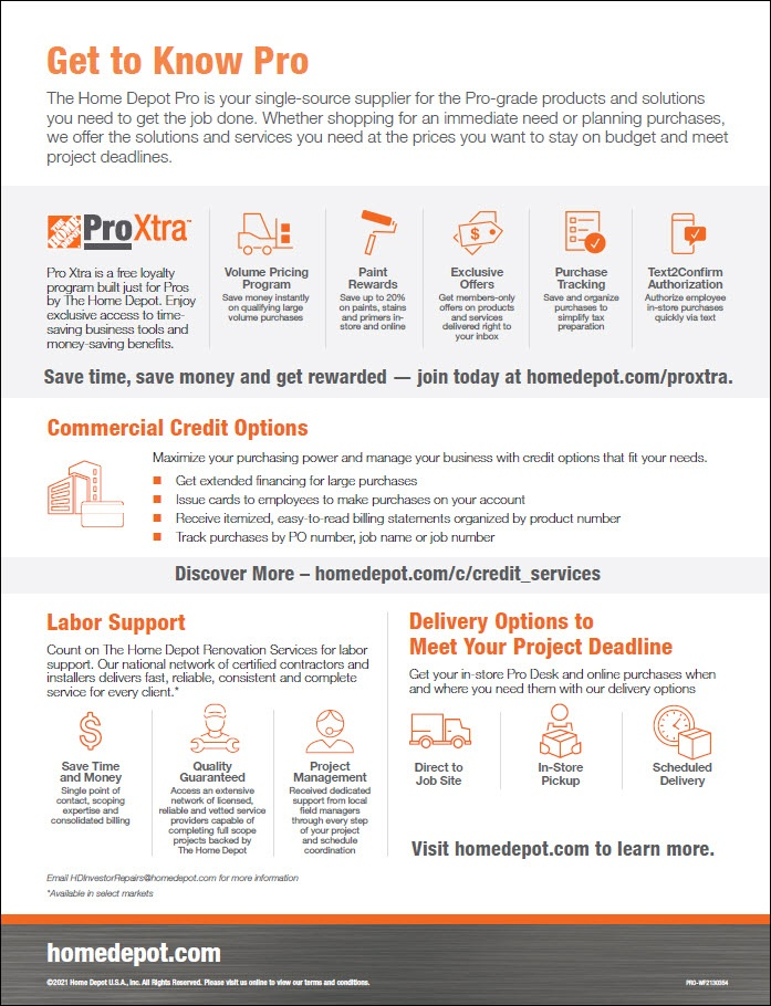 The Home Depot Pro Xtra Benefits