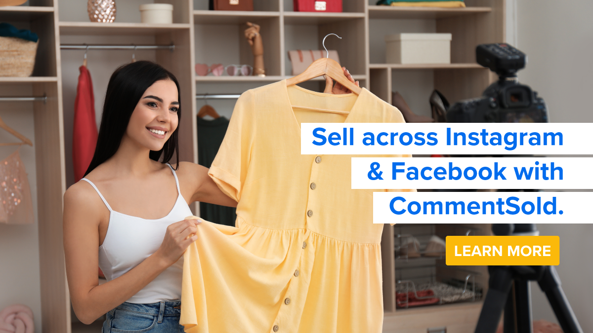 Woman sells clothing using CommentSold and Facebook Live.