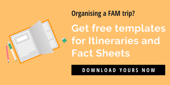 Get free itinerary and fact sheet templates for FAM trips