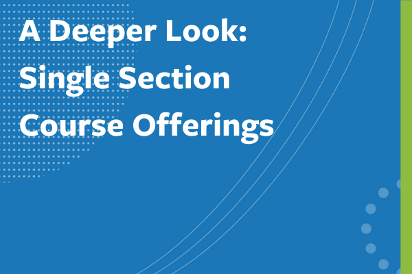 """Clickable image to read """"A Deeper Look: Single Section Course Offerings"""""""