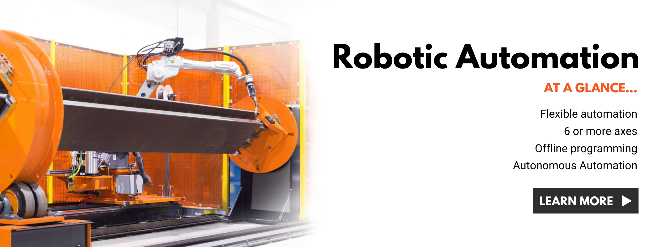 Orange and white robotic welding system showing IRCO Automation's automated welding solutions.