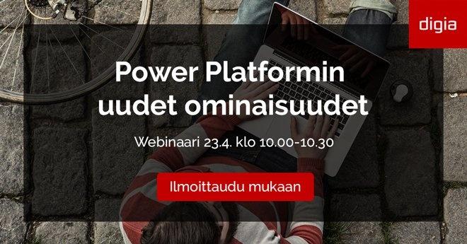 Power Platformin uudet ominaisuudet -webinaari 23.4.