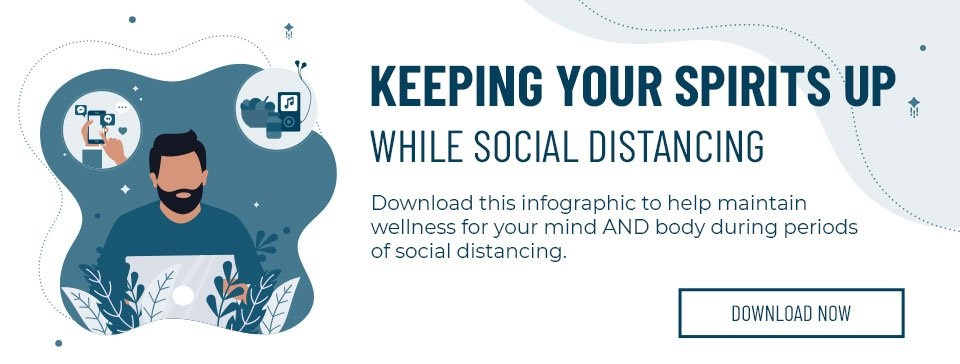 Download this infographic to help maintain wellness for your mind and body during periods of social distancing. Download now