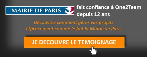 La Mairie de Paris fait confiance à 0ne2Team depuis 12 ans pour la gestion de son portefeuille de projets.Téléchargez le témoignage.