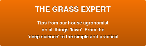 THE GRASS EXPERT  Tips from our house agronomist on all things 'lawn'. From the 'deep science'  to the simple and practical