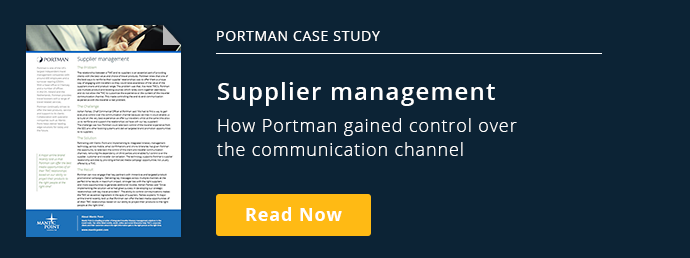 Portman Case Study Supplier ManagementHow Portman gained control over  the communication channel Read the Case Study Order Today