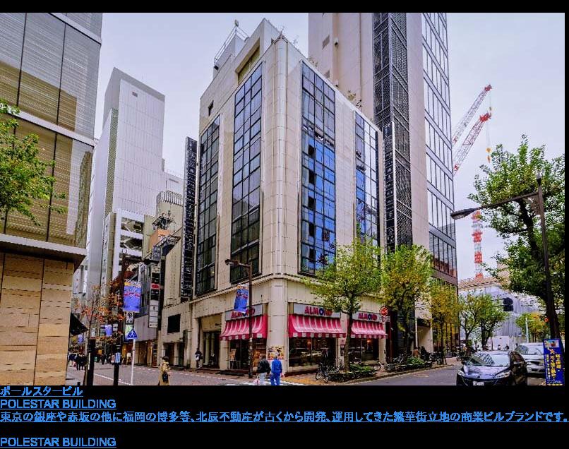 ポールスタービル  POLESTAR BUILDING  東京の銀座や赤坂の他に福岡の博多等、北辰不動産が古くから開発、運用してきた繁華街立地の商業ビルブランドです。 ポールスタービル一覧へ