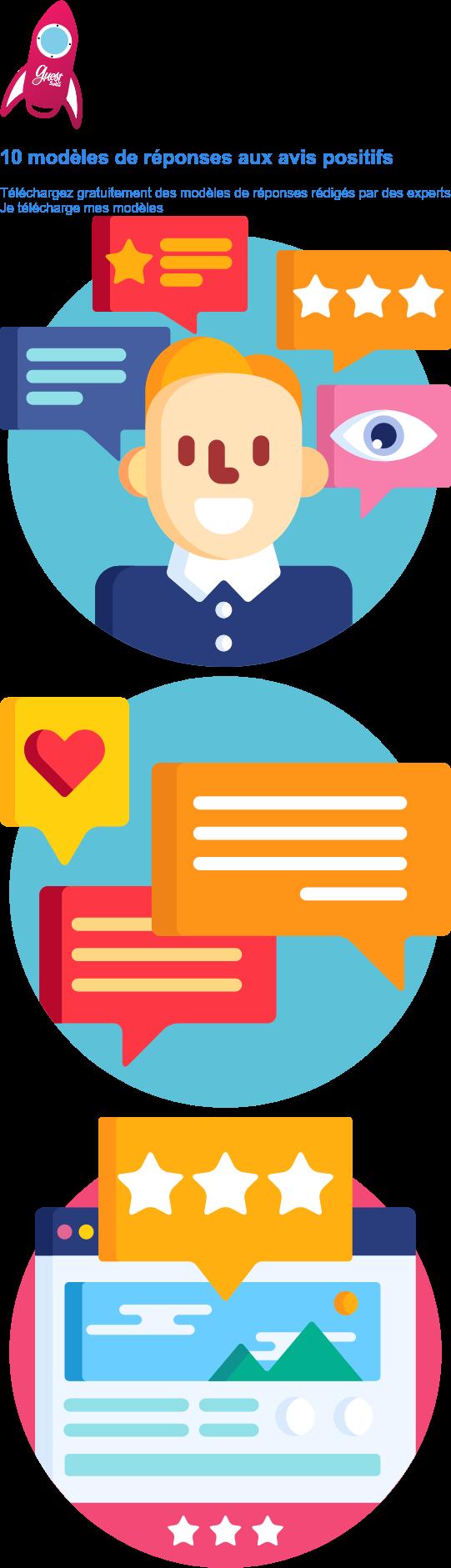 10 modèles de réponses aux avis positifs  Téléchargez gratuitement des modèles de réponses rédigés par des experts Je télécharge mes modèles