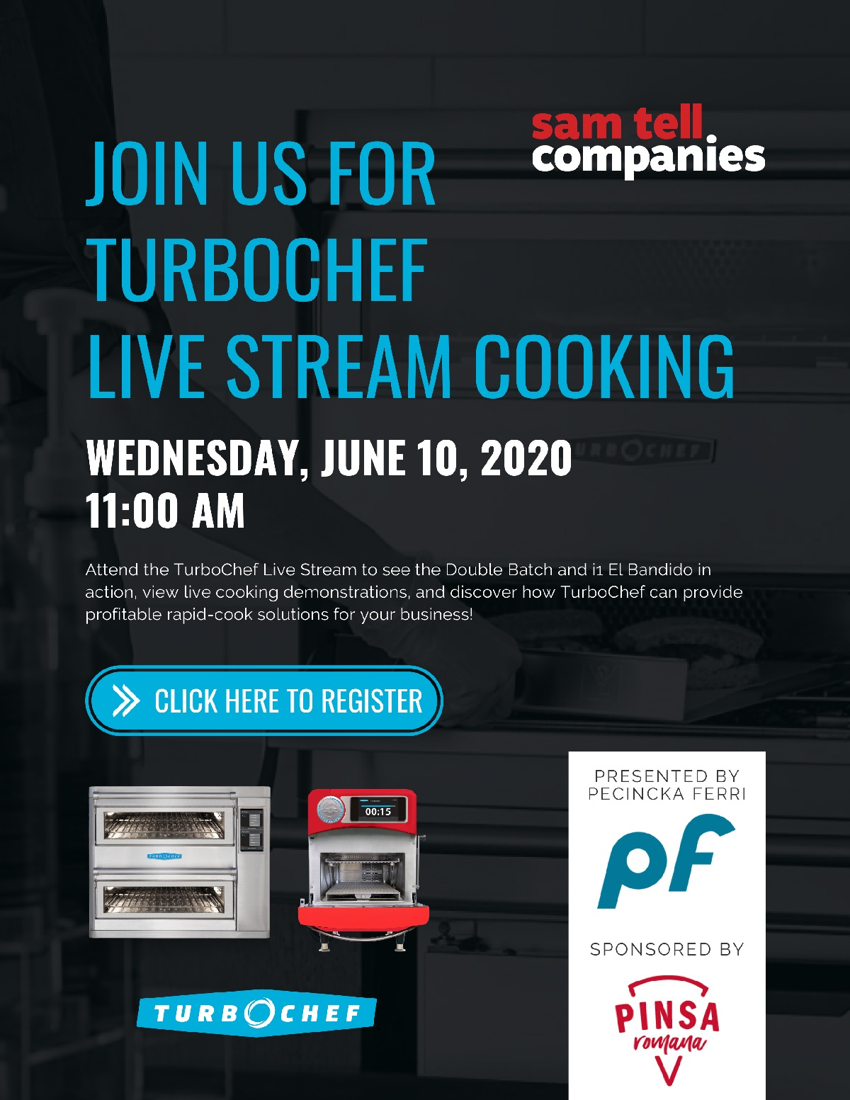 Join us for TurboChef Live Stream Cooking - with picture of TurboChef products and register link