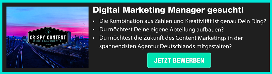 Bewirb dich jetzt als Digital Marketing Manager!
