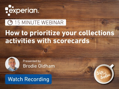 Watch our Sip and Solve webinar on collections scorecards