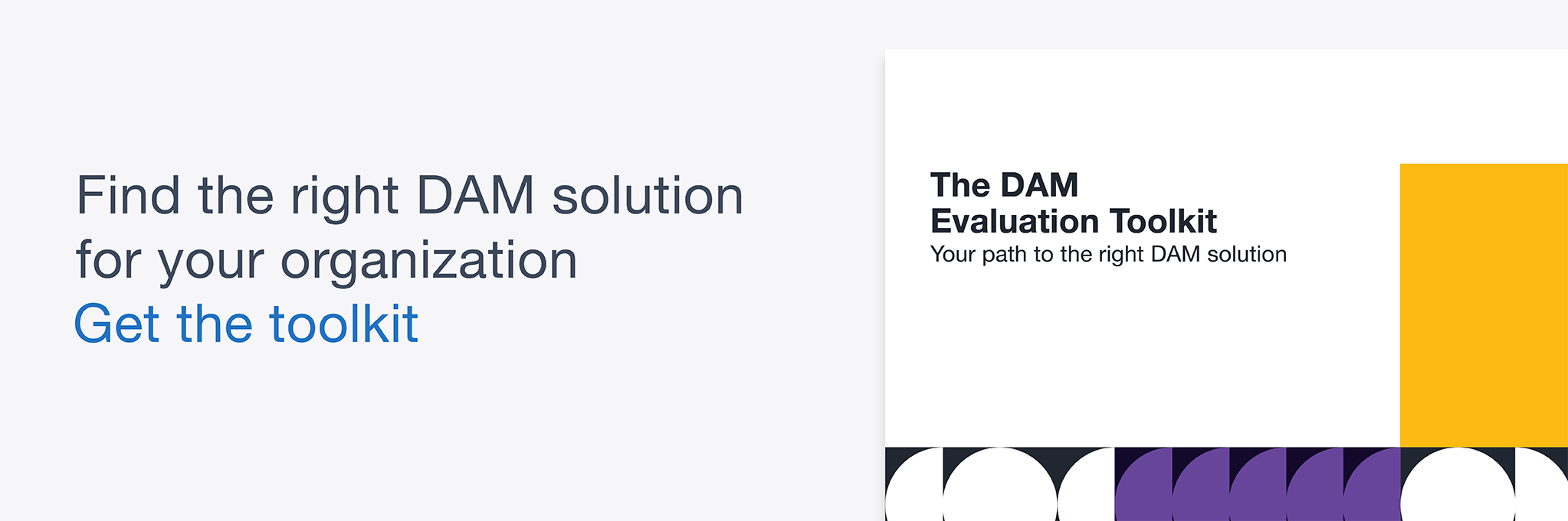 Banner graphic with The DAM Evaluation Toolkit preview image and link to get the toolkit.