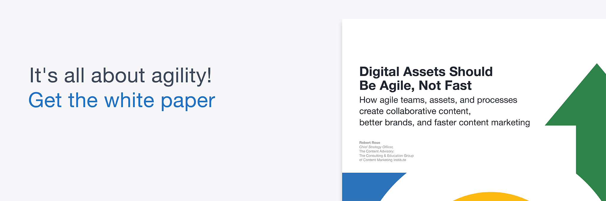 Digital Asset Should Be Agile Not Fast footer banner with white paper cover preview.