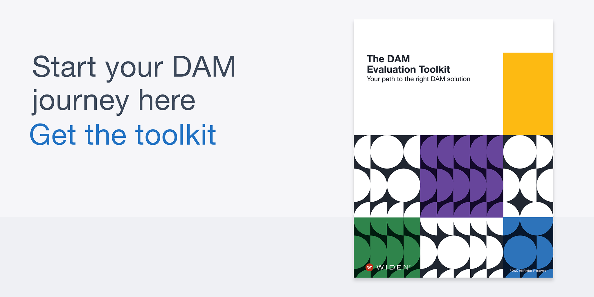 Banner graphic with a preview of The DAM Evaluation Toolkit cover and link to get the toolkit.