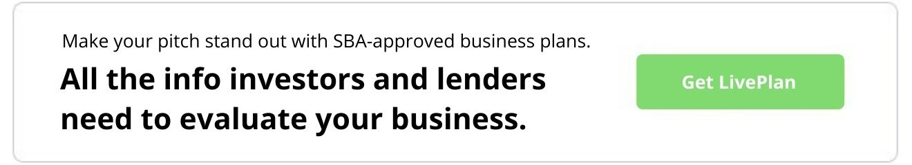 Make your pitch stand out with SBA-approved business plans. All the info investors and lenders need to evaluate your business. Get LivePlan.