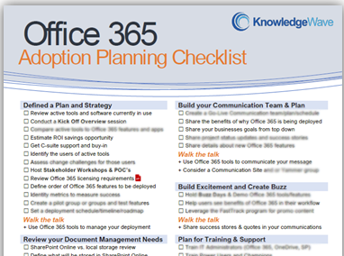 Click here to schedule a call for your own Office 365 Adoption Planning Checklist