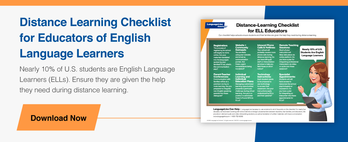 Distance Learning Checklist for Educators of English Language Learners