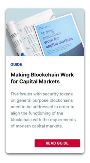 Making Blockchain Work for Capital Markets CTA