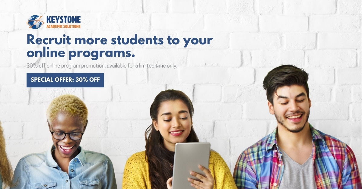 three students studying online 30% offer promotion