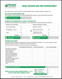 Real estate IRA fee worksheet (self-directed ira ebook)