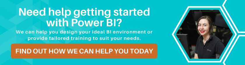 "Button to Power BI Training page. ""In need of Power BI Support?"""