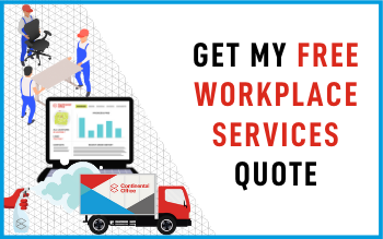 Workplace Services from Continental Office include Recycle and Buyback, Cleaning and Disinfecting, Storage with Asset Inventory Management, and Space/Occupation Planning and Design of Layout