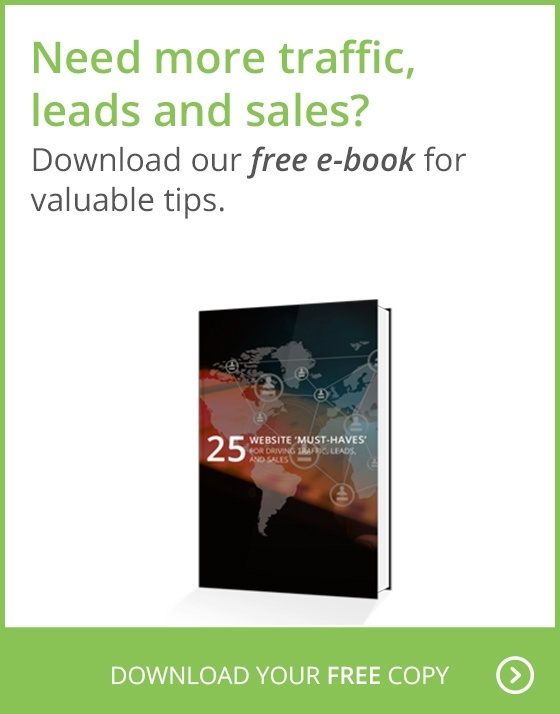Need more traffic, leads and sales? Download our free e-book for valuable tips: 25 Website 'Must Haves'. Download your free copy.