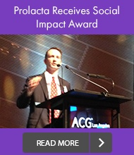Scott Elster is accepting the Social Impact Award during the ACG LA's 6th Annual Awards Ceremony at the Walt Disney Concert Hall.