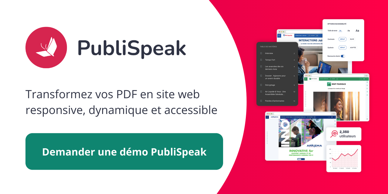 CTA amenant vers la solution Publispeak de Digital Publishing