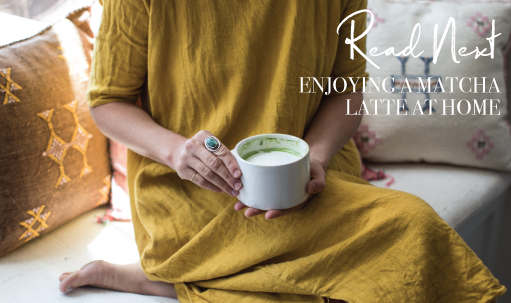 Enjoying-a-matcha-latte-at-home