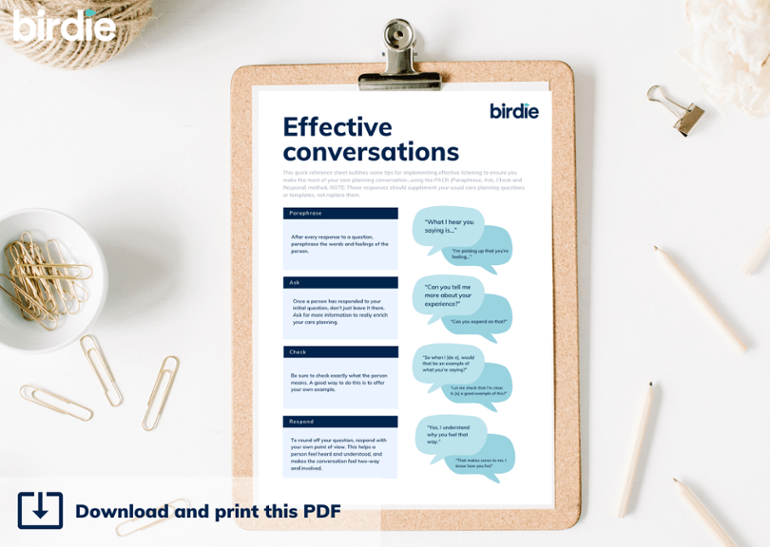 Clipboard with effective conversations worksheet printed and clipped, surrounded by paperclips