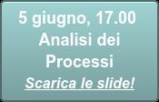 5 giugno, 17.00  Analisi dei Processi Scarica le slide!