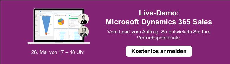 Kostenlos zur Live-Demo Microsoft Dynamics 365 Sales anmelden >
