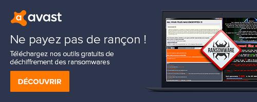 Outils gratuit déchiffrement ransomware Avast