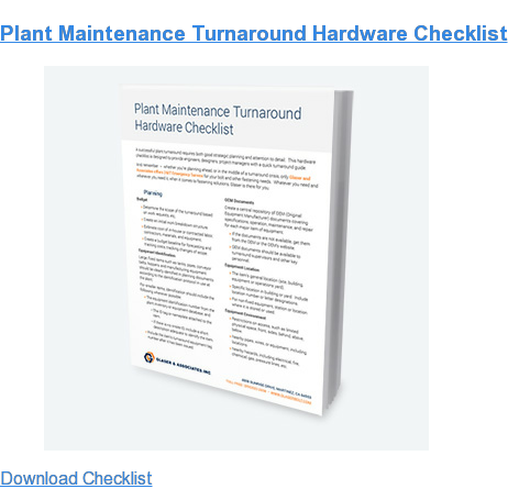 Plant Maintenance Turnaround Hardware Checklist Download Checklist
