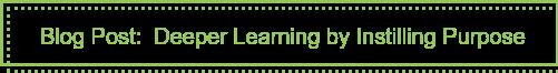 Blog Post: Deeper Learning by Instilling Purpose